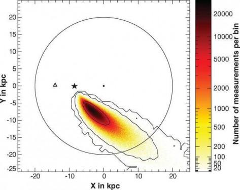 US 708'in galaktik düzlemde nerede olduğunu gösteren siülasyon. Siyah nokta galaktik merkezi, yıldız güneşi, üçgen ise US 708'in şuanki pozisyonunu gösteriyor.