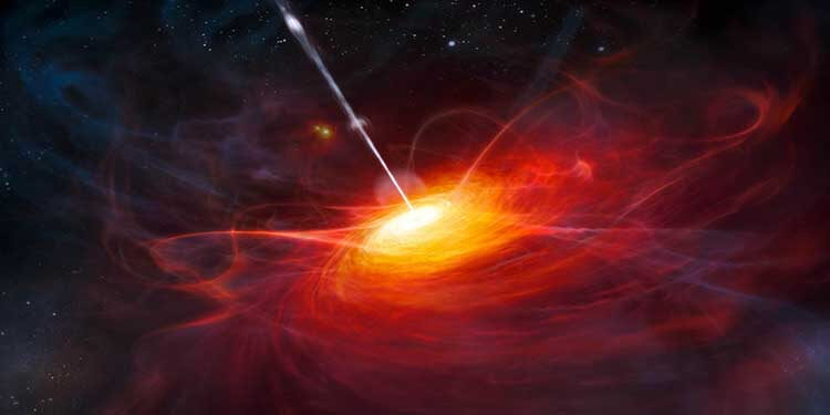 An artist's rendering of the most distant quasar