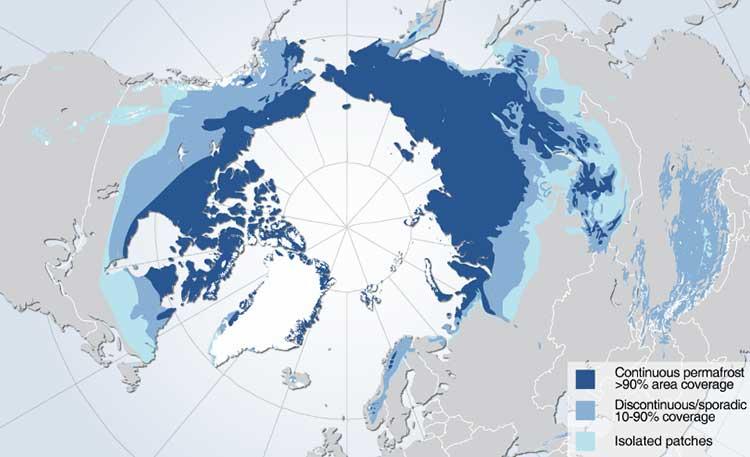 Görsel :Lacivert ile gösterilen bölgeler %90'dan daha fazla alan kaplayan ve tüm yıl hiç erimeyen bölgeleri gösteriyor; mavi bölgeler belirli zamanlarda eriyen bölgeleri, turkuvaz bölgeler ise ayrılmış ekleme buzulları gösteriyor - HUGO AHLENIUS, UNEP/GRID-ARENDAL