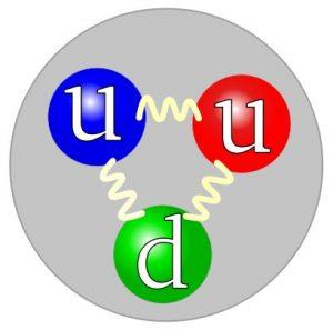 """Protonun kuark yapısı. İki tane yukarı kuark ve bir tane aşağı kuark. Güçlü kuvvet gluonlar sayesinde iletiliyor. Güçlü kuvvette üç tür yük var: Kırmızı, yeşil ve mavi. Aşağı kuarkın yeşil seçilmesi tamamen keyfi olup, """"renk yükü""""nün üç kuark arasında dolaşmakta olduğu düşünülür."""