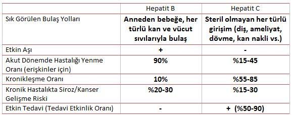 Hepatit B ve C - Kısa Karşılaştırma