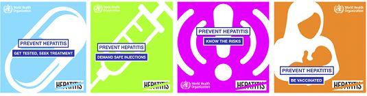DSÖ'nün Hepatiti Önleyin Afişleri: Test yaptırın, tedavi olun, güvenli injeksiyon, riskleri bilin, aşı olun