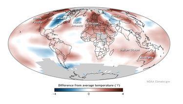 2014 yılı küresel sıcaklık artış haritası