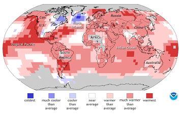 2015 yılı ilk 6 aylık küresel sıcaklık artış haritası