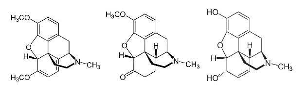 Sırasıyla: Tebain, hidrokodon ve morfinin moleküler yapıları