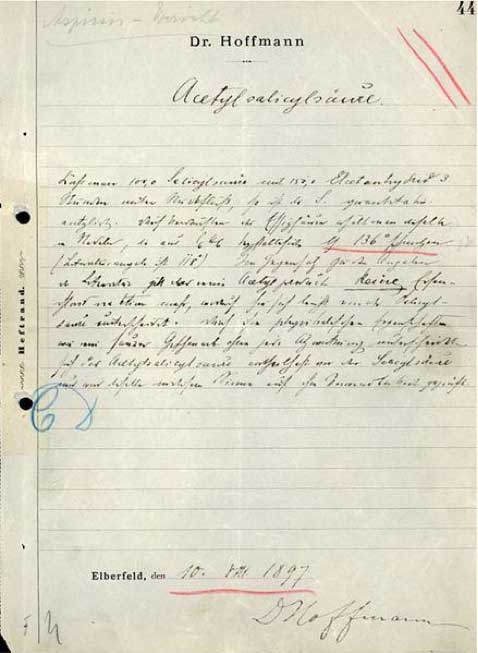 Bayer kimyageri Dr.Hoffmann'ın, Aspirin'in etken maddesi ASA'yı izole ettiğini belirten el yazısı notu.