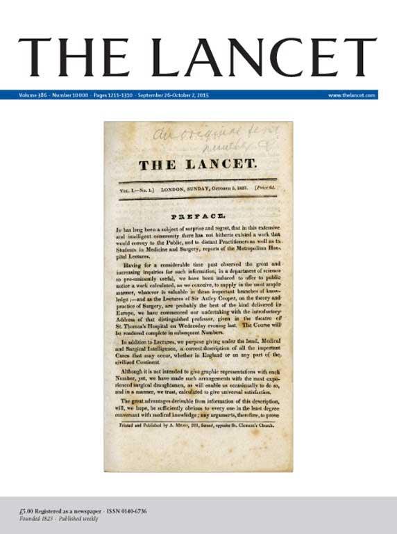 İlk sayısını kapak yaptığı 10000. sayısıyla The Lancet (26 Eylül 2015, Cilt 386, Sayı 10000, Sayfalar 1211-1310)