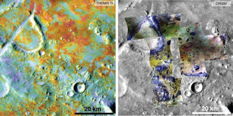 Researchers estimating the amount of carbon held in the ground at the largest known carbonate deposit on Mars used data from five instruments on three NASA Mars orbiters, including physical properties from THEMIS (left) and mineral information from CRISM (right). NASA/JPL-Caltech/ASU/JHUAPL Read more at: http://phys.org/news/2015-09-early-mars-atmosphere-theory.html#jCp