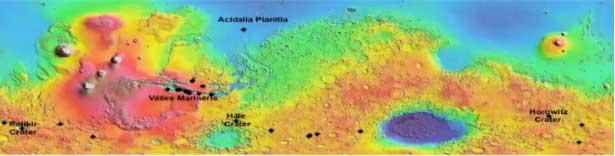 Koyu çizgilerin izlendiği krater ve yükseltilerin Mars yüzeyindeki yerleşim yerleri
