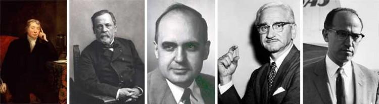 Soldan Sağa: Jenner, Pasteur, Hilleman, Sabin, Salk