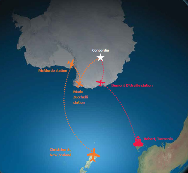 Concordia'ya ulaşım. Üs, kıyıdan 1200 km içeride bulunuyor. Telif:ESA