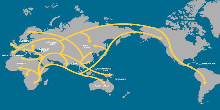 Mezopotamya'dan insan göçlerini gösteren harita - Kaynak: National Geographic