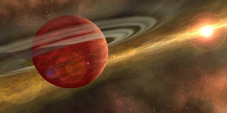 Sıradışı gezegen HD 106906b'nin resmi. Gezegen oldukça genç bir sistemde yer aldığında çevresinin gaz ve toz enkaz diskiyle örülü olduğu düşünülmüş. (NASA/JPL-Caltech)