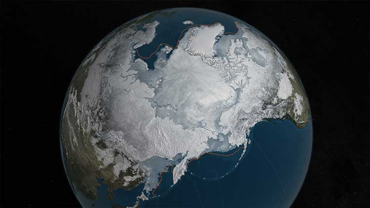 Kırmızı çizgiyle gösterilen geçen yılki rekor en düşük buzul genişleme alanı ile bu yılkinin karşılaştırılması. Telif: NASA Goddard Bilimsel Gözlem Stüdyosu/C. Starr