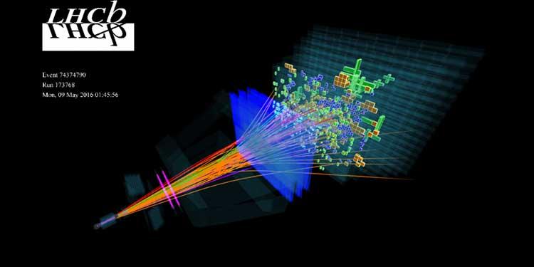 Sezonun ilk proton-proton çarpışması sonrası detektörün yakaladığı görüntü. (Telif: CERN/LHCb)