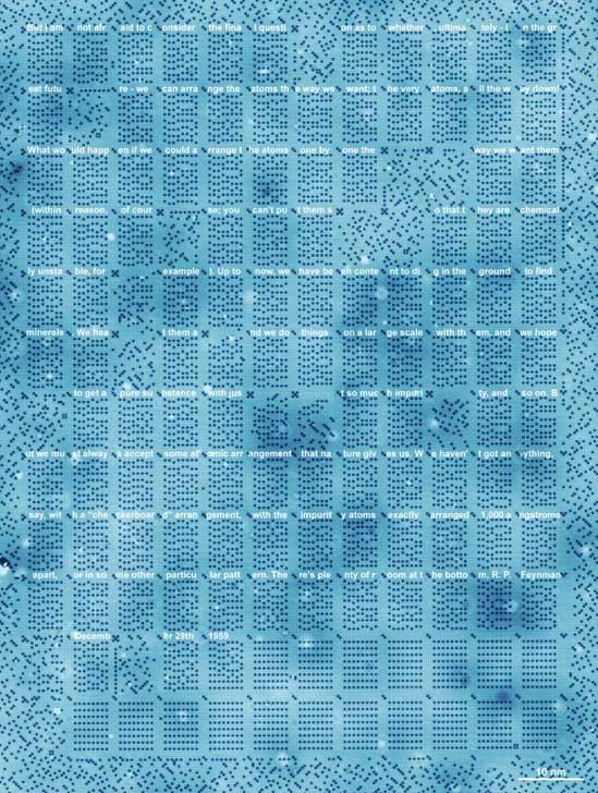 96 nanometre genişliğinde, 126 nanometre uzunluğundaki 1 kilobayt hafızanın STM taraması. Bu hafıza üzerine Feynman'ın dersi yazılı.