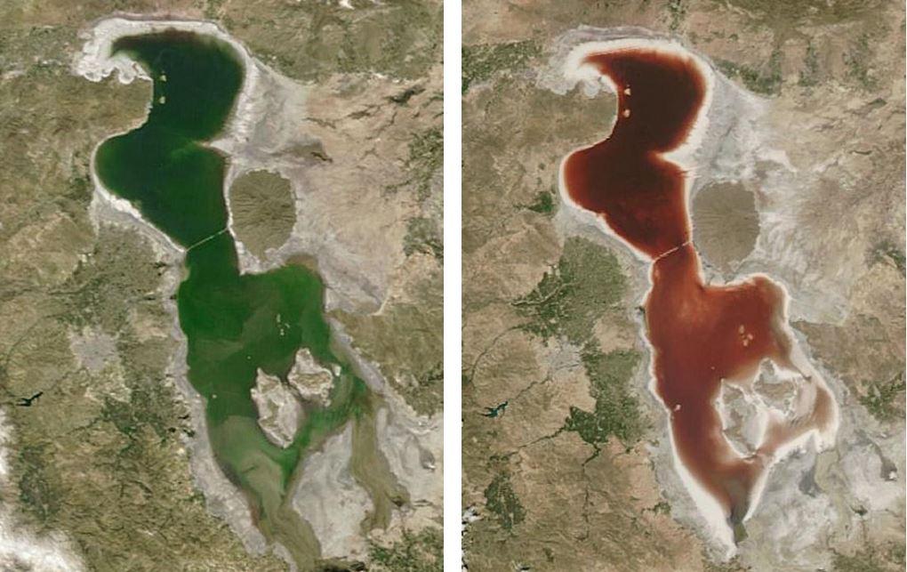 Solda 23 Nisan 2016 tarihinde çekilmiş, sağda ise 18 Temmuz'da çekilmiş olan Urmiye Gölü fotoğrafları - Telif : NASA EARTH OBSERVATORY