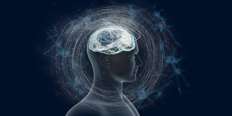 Cerebro humano rodeado ondas